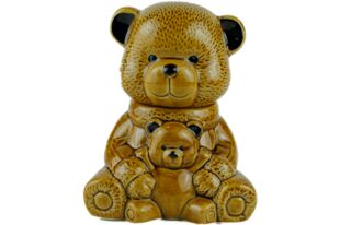 honey filled in a ceramic honey bear